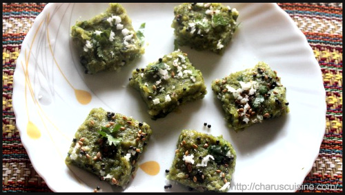 """Spinach (palak) dhokla recipe by Charulata"""